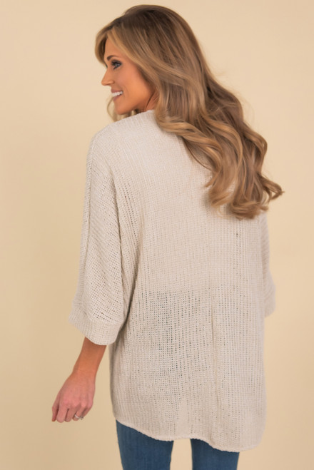 Open Knit 3/4 Sleeve Natural Cardigan