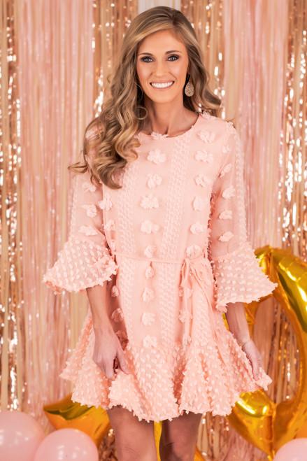 Cupid's Kiss Peach Pom Pom Dress