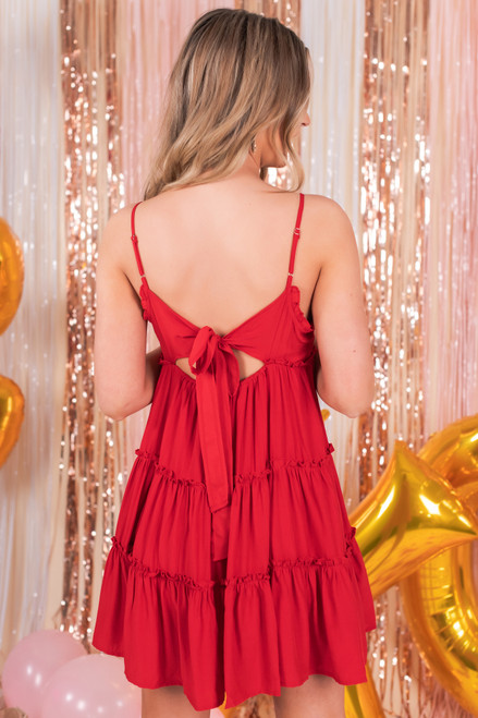 V-Neck Ruffled Red Tiered Dress
