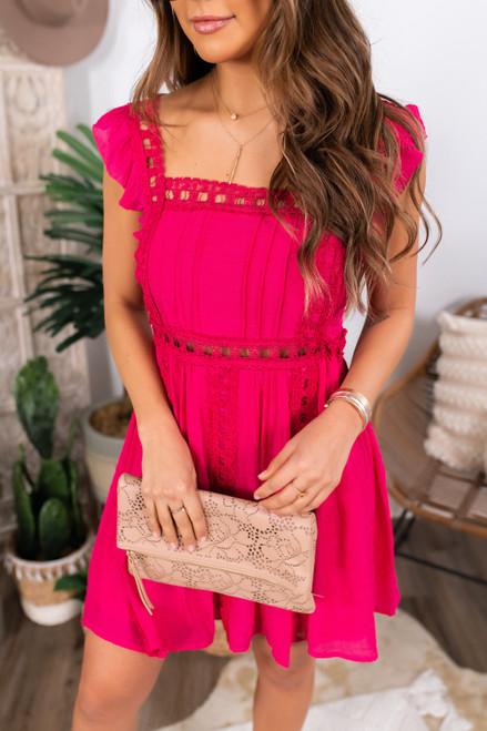 Ladder Detail Hot Pink Dress