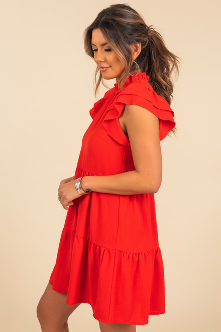 Mock Neck Red Tiered Dress