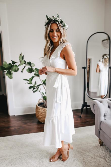Crochet Detail White Midi Wrap Dress