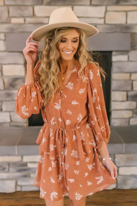Button Down Metallic Floral Dress