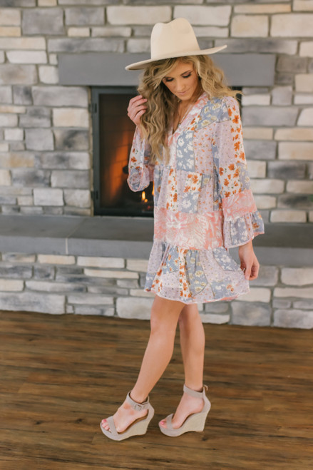 V-Neck Mixed Floral Tiered Dress