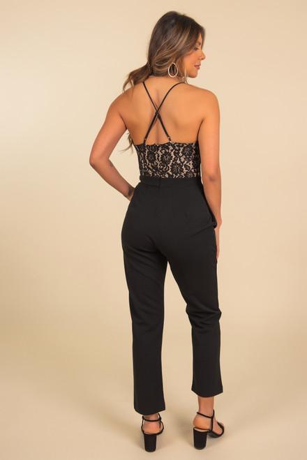 Scalloped Lace Black Jumpsuit