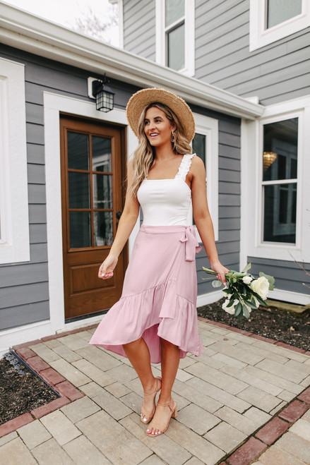 High Low Mauve Ruffle Wrap Skirt
