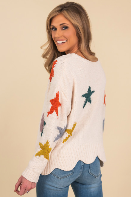 Chenille Scalloped Star Sweater