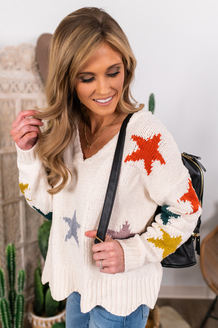 Chenille Scalloped Star Sweater