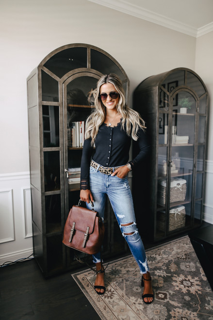 Button Down Black Ribbed Lace Top