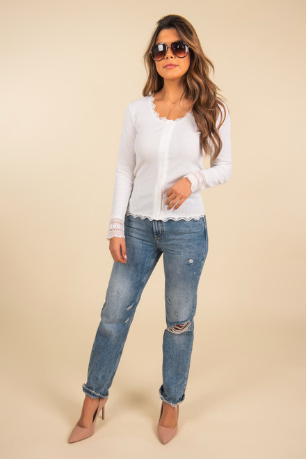 Button Down White Ribbed Lace Top