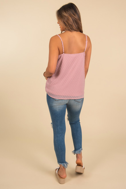 V-Neck Dotted Dusty Pink Tank