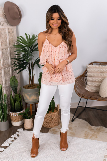 V-Neck Pink Dotted Ruffle Tank