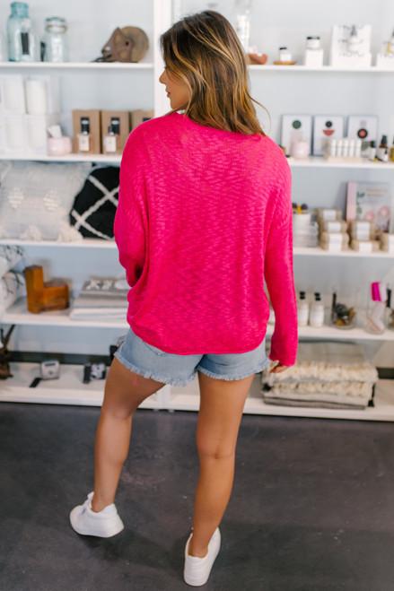 Open Knit Fuchsia Pocket Sweater