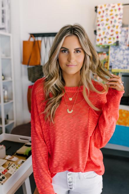 Open Knit Orange Red Pocket Sweater
