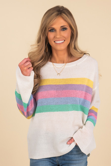 Multi Stripe Ivory Lightweight Sweater - FINAL SALE