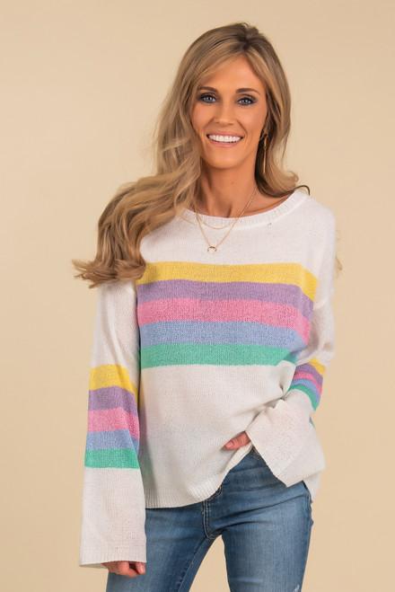 Multi Stripe Ivory Lightweight Sweater