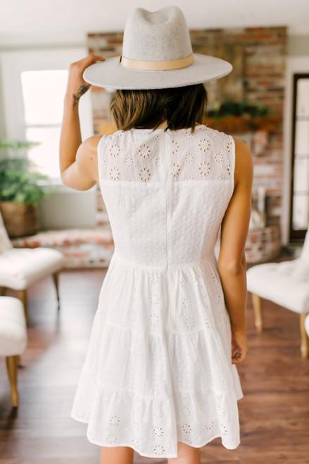 Oleander Garden White Eyelet Tiered Dress