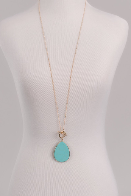 Teardrop Marble Pendant Necklace - Turquoise/Gold