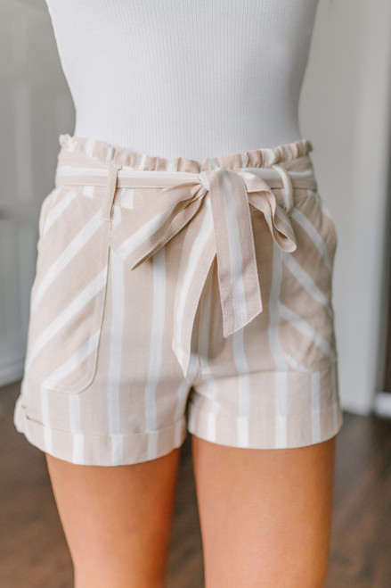 Tie Waist Khaki Striped Shorts