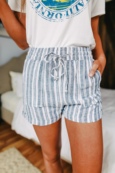 Drawstring Navy Striped Linen Shorts