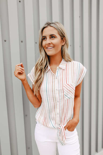 Button Down Striped Knot Shirt