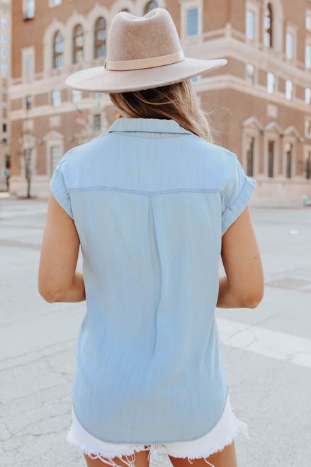 Cuffed Sleeve Light Wash Denim Shirt