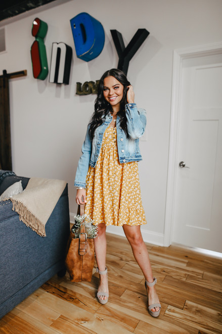 Sweetheart Mustard Floral Print Dress