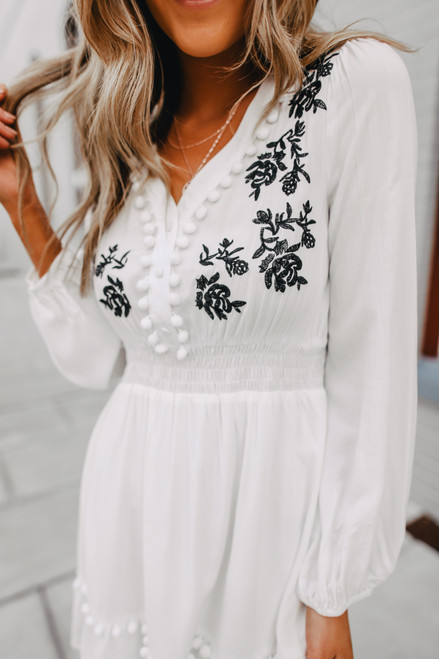 Button Detail Embroidered Pom Dress