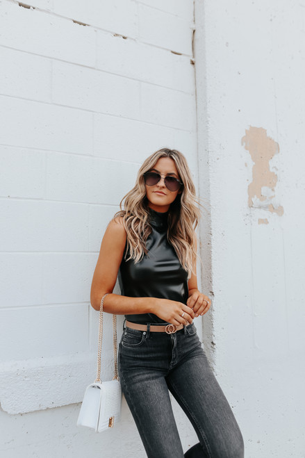 BB Dakota Faux-M-G Vegan Leather Bodysuit