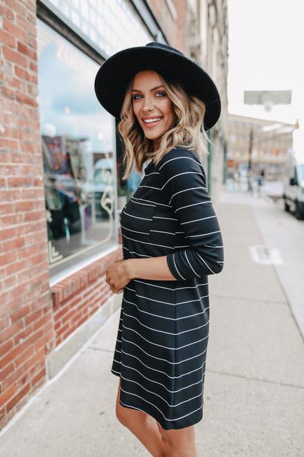 3/4 Sleeve Black Striped T-Shirt Dress