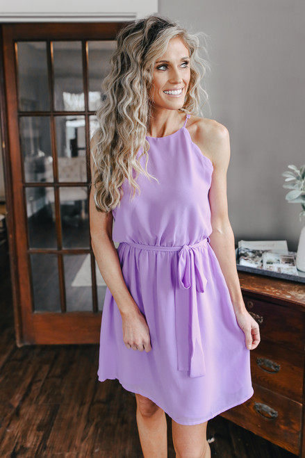 Scalloped Halter Orchid Dress