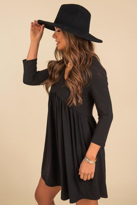 3/4 Sleeve Black Empire Dress