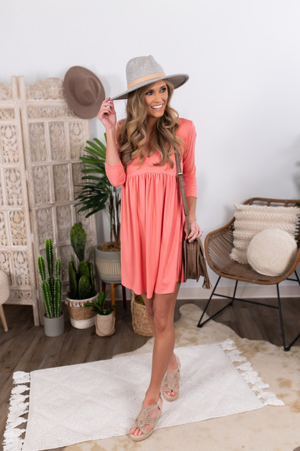 3/4 Sleeve Coral Empire Dress