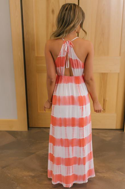 Open Back Coral Tie Dye Maxi