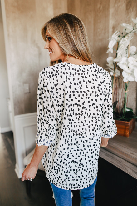 V-Neck Roll Tab Dotted Blouse