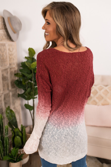 V-Neck Wine Ombre Sweater