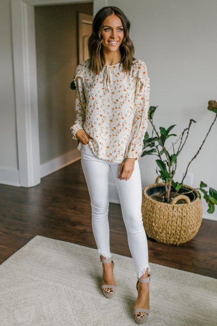 Tie Front Ruffled Cream Floral Blouse