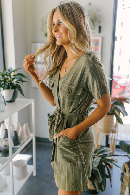 Button Down Olive Striped Cargo Dress