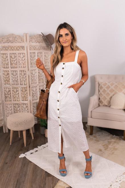 Button Down White Eyelet Midi Dress