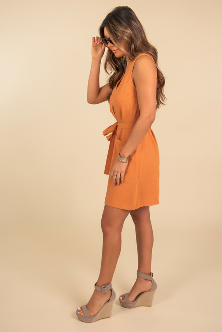 Button Down Ochre Tie Waist Dress