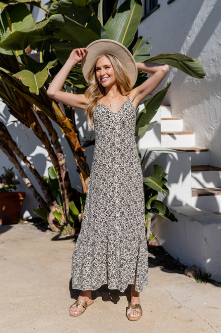 Button Down Taupe Floral Maxi