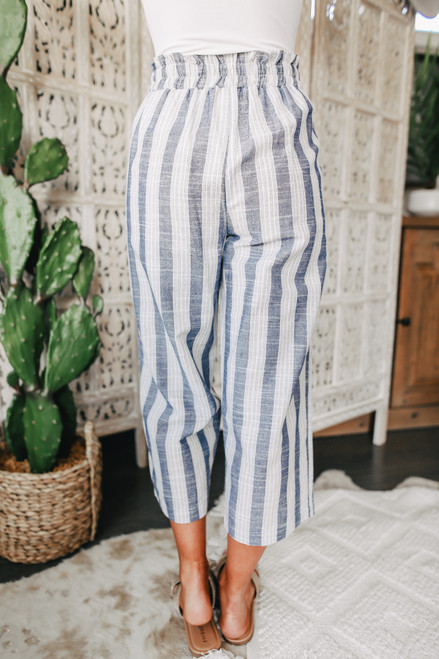 Tie Waist Navy Striped Cropped Pants