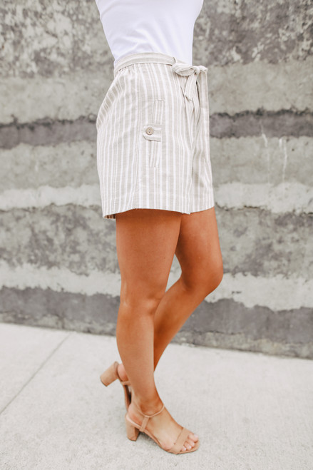 Jetsetter Taupe Striped Linen Shorts