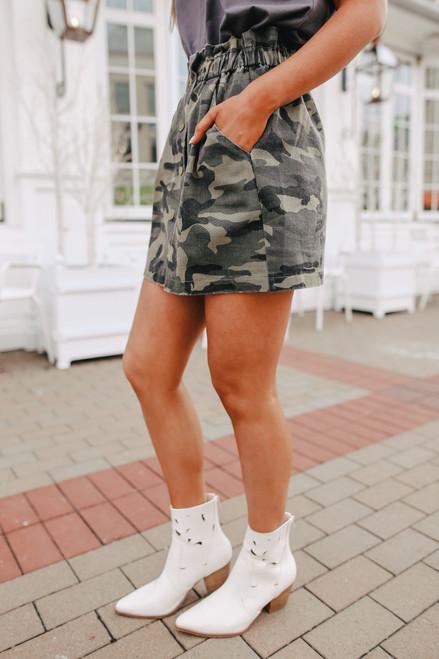 Button Down Camo Paperbag Denim Skirt
