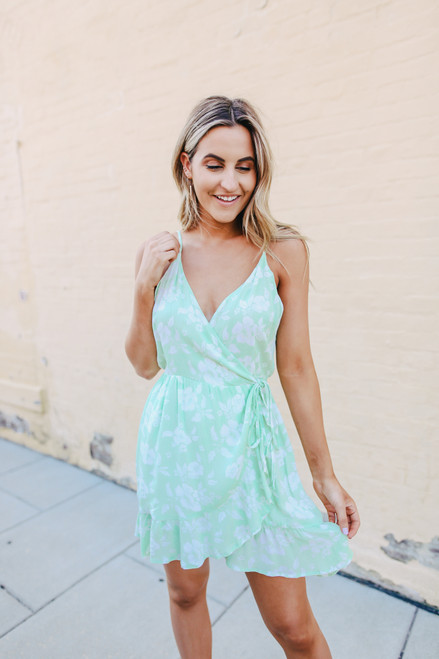 Key Lime Floral Wrap Dress