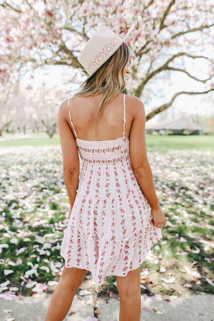 Surplice Pink Floral Tiered Dress