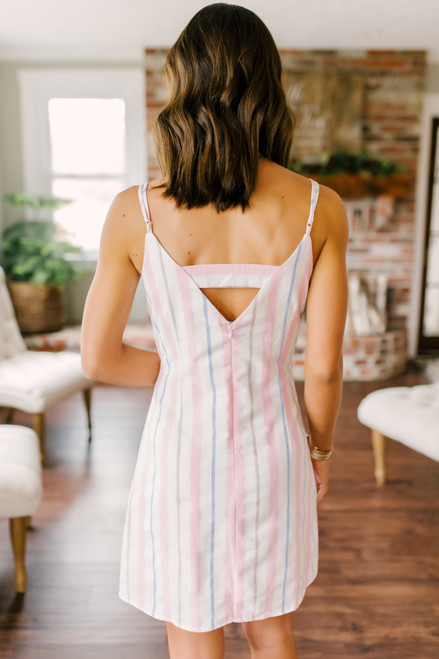 Love Note Pastel Striped Linen Dress