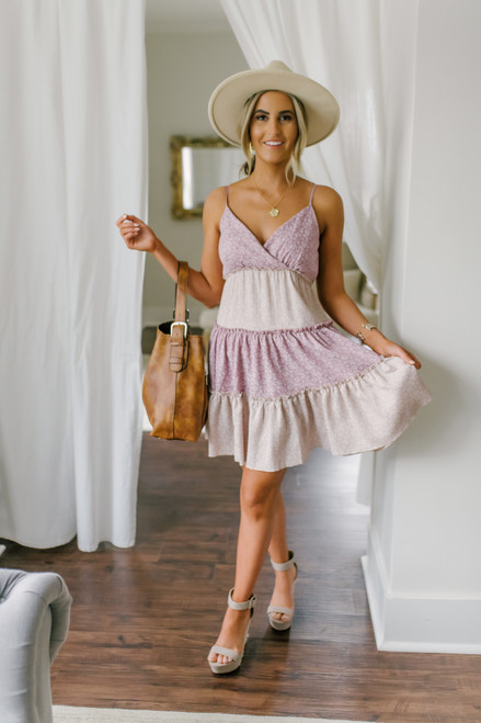 Surplice Floral Colorblock Tiered Dress