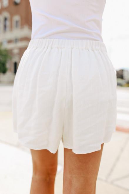 Tie Waist White Pleated Shorts