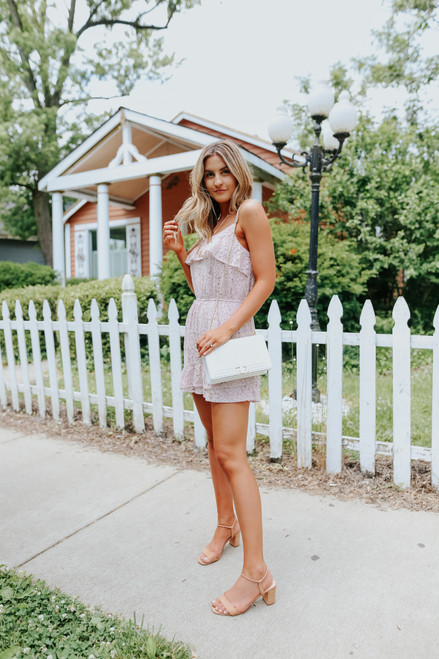 Ruffle Overlay Rose Lace Romper